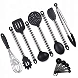 EcoStella Nonstick Silicone and Stainless Steel Kitchen Utensil Set of 8 + a Measurement Set