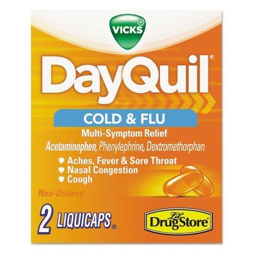 DayQuil 97047 Severe Cold & Flu Caplets, Daytime, Refill Pack, 2 Caplets/Packet, 20 Packs/Box ()