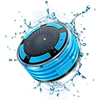 ORFREE IPX7 Waterproof Bluetooth Shower Speaker-Shockproof with FM Radio,LED Light,Strong Suction Cup,Handsfree Wireless Speakerphone Black&Blue
