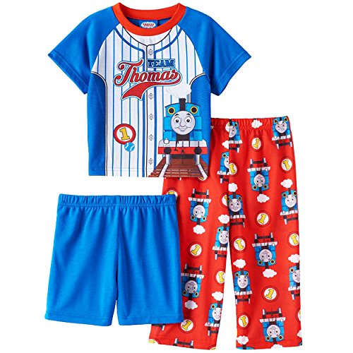 Thomas the Train and Friends Boys 3 piece Pajamas Set (2T, Team Thomas Blue/Red) (Giant Thomas The Tank Engine Train Set)