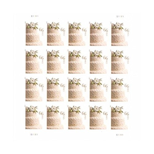 Wedding Cake Sheet of 20 x 66 cent U.S. Postage Stamps ()