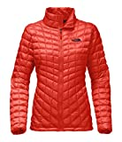 The North Face Women's Thermoball Full Zip Jacket Fire Brick Red and Galaxy Purple - M