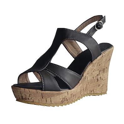 Fuibo_Sandalen Damen Sandaletten Keilabsatz, Frauen Retro