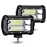 AMBOTHER LED Pods Light Bar 5 Inch 40W Off Road Driving Fog Lights Waterproof Spot Beam Back Up Work Lights for Truck Jeep Car ATV SUV Boat, 2 Year Warranty, 2 Pack