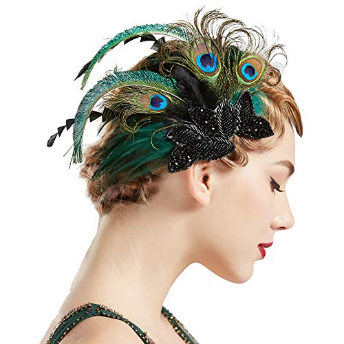 (BABEYOND 1920s Flapper Hair Clip 20s Great Gatsby Headpiece Peacock Feather Clip 1920s Flapper Gatsby Hair Accessories)