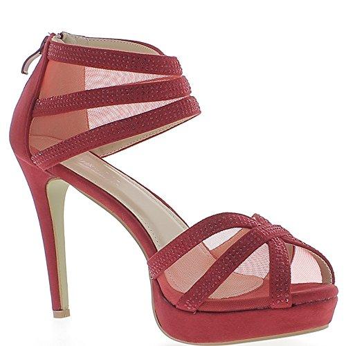Sandales grande taille rouges à talon de 12cm et plateau de 2,5cm aspect daim et strass