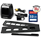 zonoz FS-ONE 22MP Ultra High-Resolution 35mm Negative Film & Slide Converter Scanner w/LCD, No Computer or Software Required, TV Cable, & Worldwide Voltage 110V/240V AC Adapter & 32GB SD Card (Bundle)