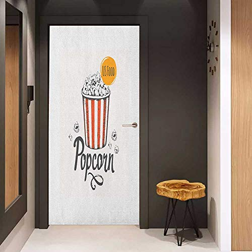 (Onefzc Photo Wall Decal Movie Theater Sketch Design Cinema Snack US Fast Food Pop Corn Art for Home Decor W23 x H70 Charcoal Grey Vermilion Marigold )