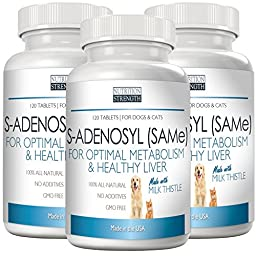 SAMe Antioxidant for Dogs and Cats for Optimal Metabolism and Healthy Liver Function, Nutrition Strength, 120 Chewable Tablets