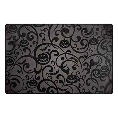Cooper girl Damask Halloween Pumpkin Modern Decorative Area Rug Pad Floor Mat 31x20 for Living Dining Room Bedroom by Cooper girl