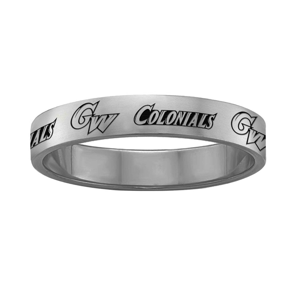 College Jewelry George Washington Ring Ring Narrow Style 4MM Wide Band Full Logo