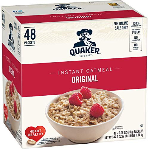 - Quaker Instant Oatmeal, Original, 48 Count, 0.98 oz Packets (Packaging May Vary)