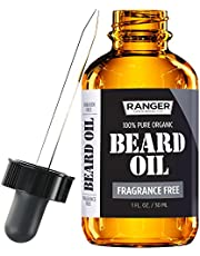 Fragrance Free Beard Oil & Leave In Conditioner, 100% Pure Natural for Groomed Beards, Mustaches, Moisturized Skin 1 Oz By Ranger Grooming Co By Leven Rose (Beard Oil)