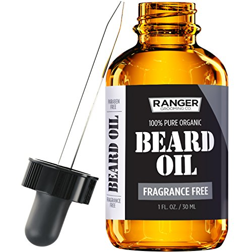 Fragrance Free Beard Oil & Leave In Conditioner, 100% Pure Natural for Groomed Beards, Mustaches,...