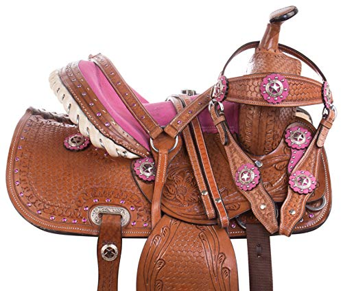 AceRugs 10 12 13 Pink Crystal Premium Leather Western Pleasure Trail Show Youth Kids Barrel Racing Pony Saddle TACK Set ()