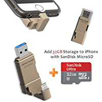 [Apple MFI Certified] TEKQ Twister uDrive microSD Card Reader to Lightning for iPhone, USB 3.0 Flash Drive/memory stick/storage expansion for iPhone, iPad, iPod, Mac and Windows PC (Gold 32G)
