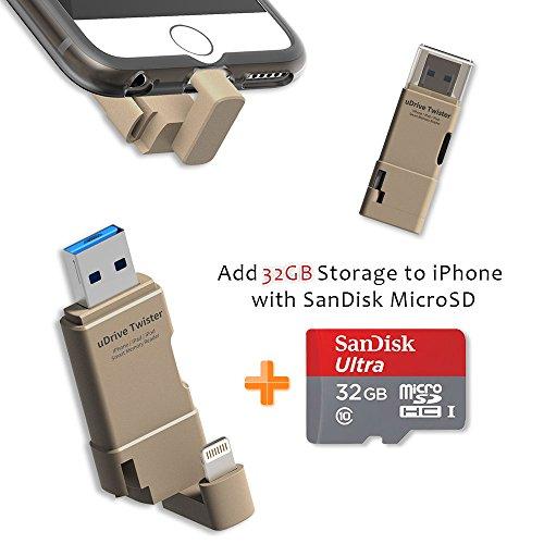 [Apple MFI Certified] TEKQ Twister uDrive microSD Card Re...