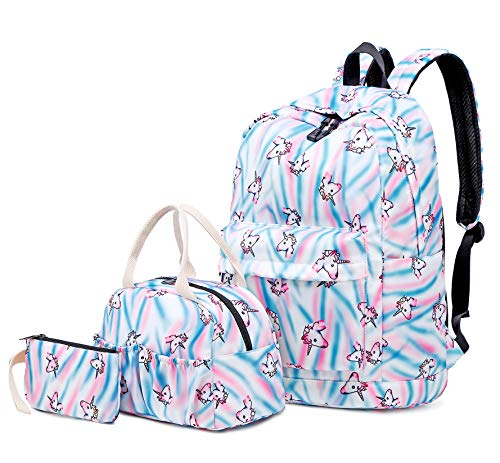 Sqoto Teens Girls Backpack, School Backpack Unicorn Bookabg with Lunch Bag and Pencase Travel Daypack Shoulder Bag Laptop Bag Fashion Rucksack College Bookbag