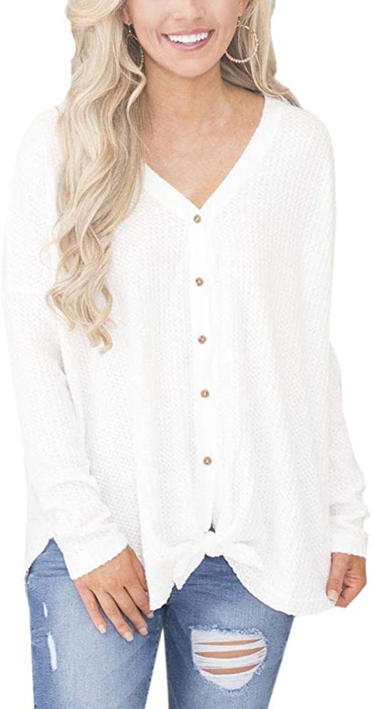 KOERIM Womens Loose Button Down Tie Front Knit Blouse Long Sleeve Henley Tops