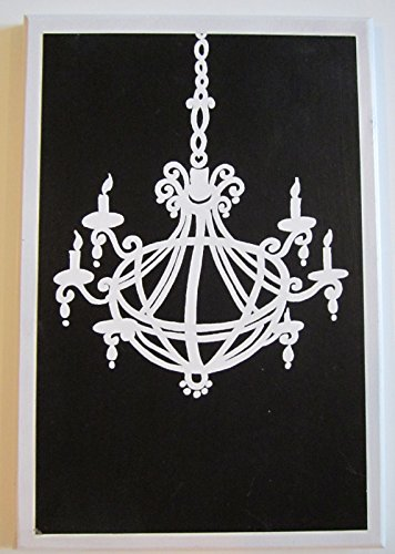 Ozark Mountain Homestead Chandelier Wall Decor Plaque Black & White Elegant Bed or Bath Bathroom Picture