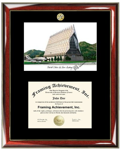 Air Force Academy Lithograph (US Air Force Academy USAF Lithograph Matted Diploma Frame - Choice of College Major Gold Seal Insignia - Premium Wood Glossy Prestige Mahogany with Gold Accents - Single Black Mat )