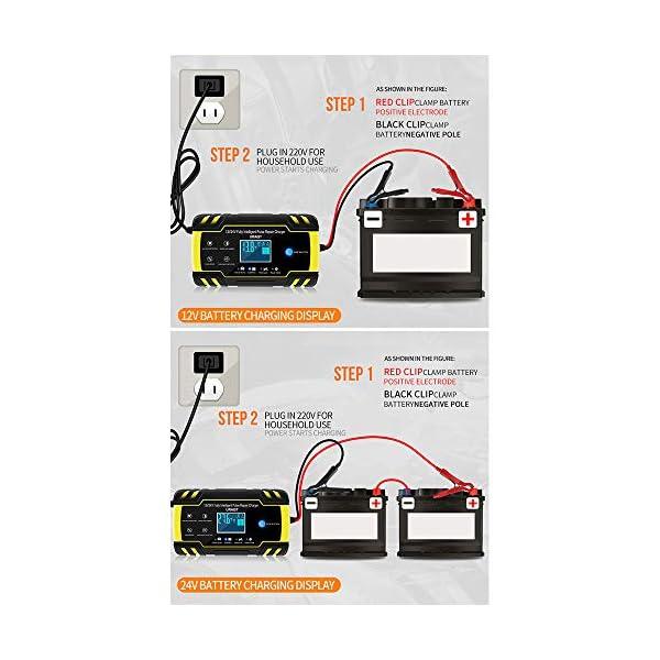 51qfqUP0K1L URAQT Autobatterie Ladegerät, Erhaltungsladegerät 8A 12V/24V, Aktualisierung Batterieladegerät Batterie Ladegerät für…