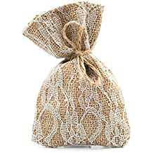 25 Burlap and Lace Favor Bags Rustic Wedding or Party Rustic Decorations Set (Large (5.5 Inch), Burlap & Lace)
