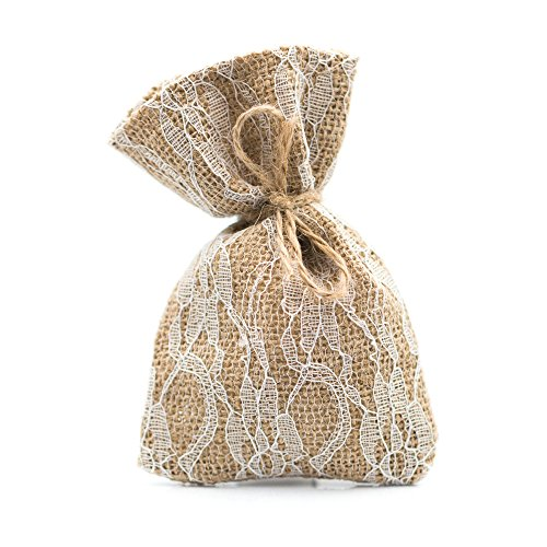 Ella Celebration 25 Burlap and Lace Favor Bags Rustic Wedding or Party Rustic Decorations Set (Large (5.5 Inch), Burlap & Lace) -