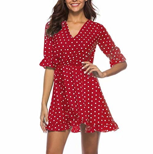 Women's Casual Peplum Dress Cross V-Neck Ruffled Sleeve Dress Polka Dot Wrap Midi Dres (Polka Dot Peplum Dress)