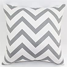 TAOSON Chevron Zig Zag Cotton Canvas Pillow Sofa Throw White Printed Cushion Cover Pillow Case with Hidden Zipper Closure Only Cover No Insert 25x 25 Inch 65x65cm-Light Grey