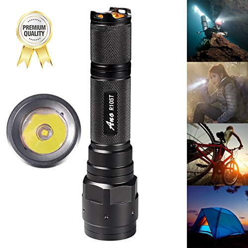 Led Diving Torch - Ano R105T Diving Flashlight for Scuba Divers Diving Light Underwater Dive Primary & Backup LED Light Cree XML U3 650ft/200M Waterproof Scuba Diving Safety Gear Light Handheld Mini Diving Flashlight