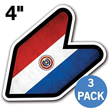 "Paraguay – 4 ""bandera del Paraguay Grunge JDM Wakaba Shoshinsha marca nueva insignia del"