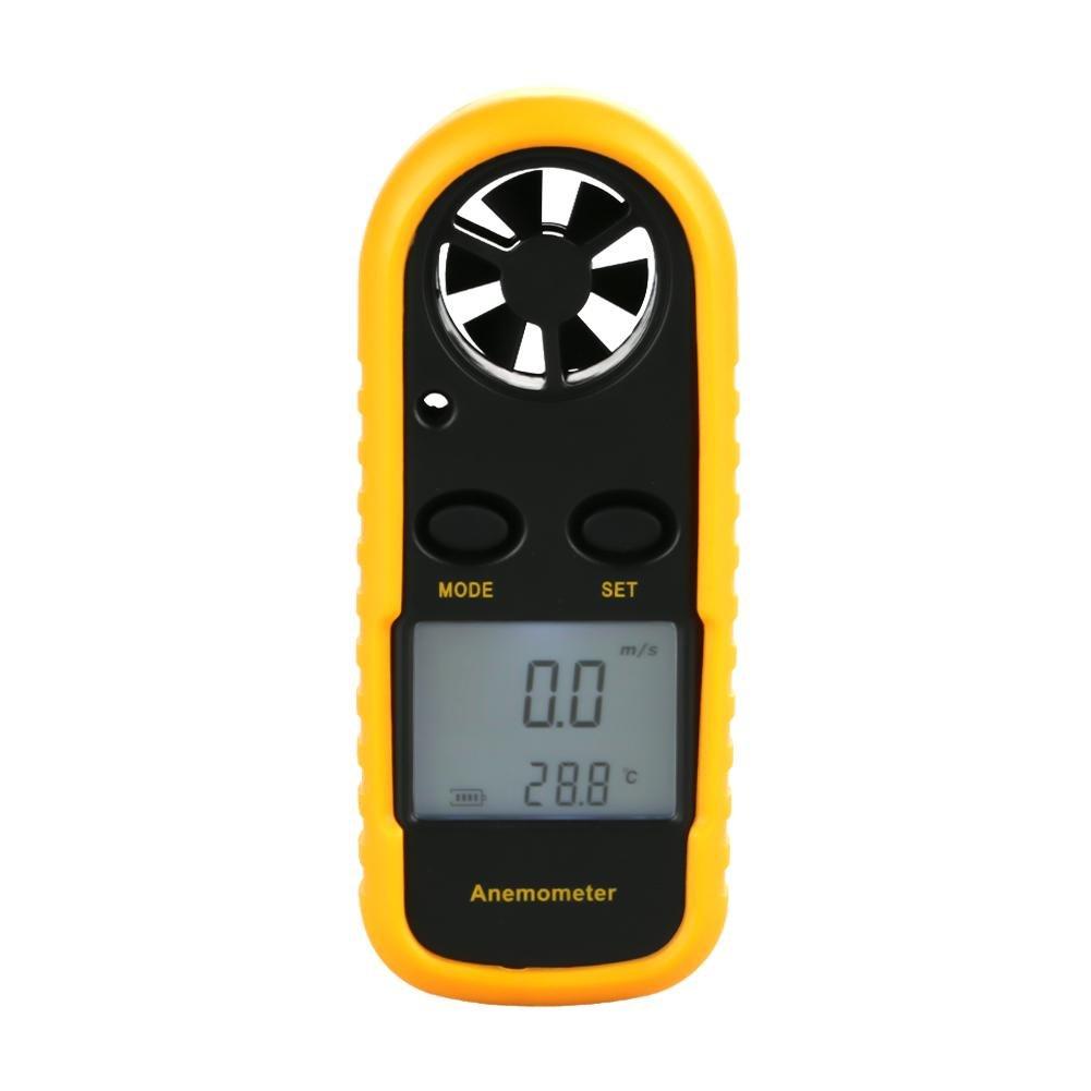 Hilitand Anémomètre Numérique LCD Portable Compteur la Vitesse et la Température du Vent, Thermomètre du Vent Débitmètre de la Vitesse du Vent pour Planche à Voile, Pêche(Batterie Incluse)