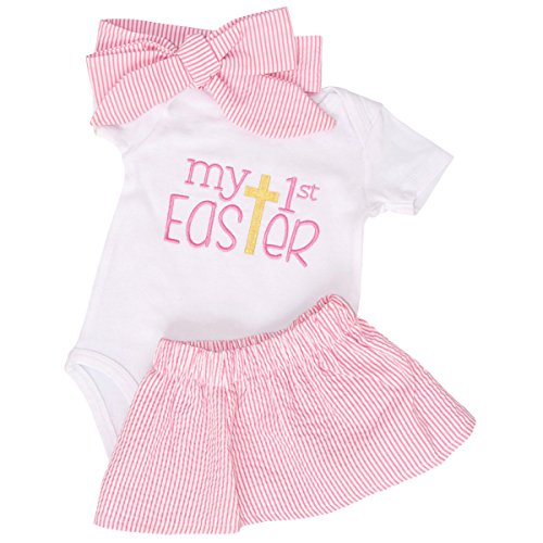 Unique Baby Girls My 1st Easter Skirt Layette Set (18 Months) Blue