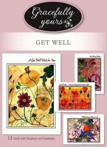 (Gracefully Yours Get Well Peace and Grace Greeting Cards Featuring Adriana Cirstea, 12, 4 Designs/3 Each with Scripture Message)