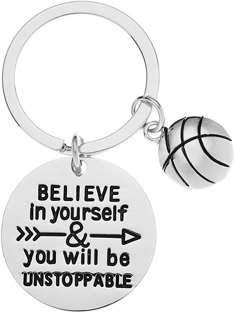 Sportybella Basketball Keychain Believe in Yourself /& You Will Be Unstoppable Keychain for Men and Women Basketball Player Gifts