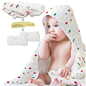 "Muslin Swaddle Blankets Unisex - Organic Cotton Blankets White 47"" x 47"" - Infant Wrap Set with Comb and Bamboo Washcloths - Designed for Newborn, Girl & Boy"