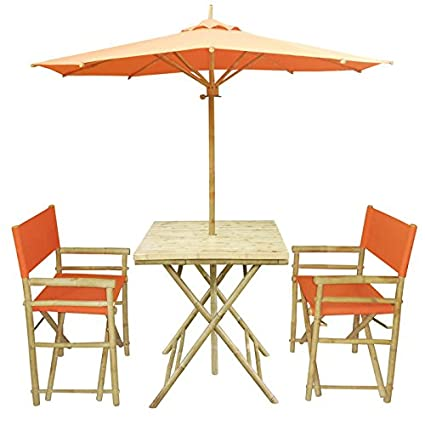 Miraculous Zew 4 Piece Bamboo Outdoor Bistro Set With Square Table 2 Treated Canvas Chairs And Umbrella Pottery Home Interior And Landscaping Staixmapetitesourisinfo