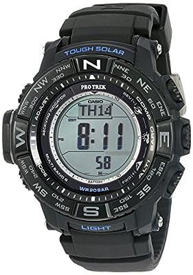 Casio Men's PRW3510Y-1 Triple Sensor Digital Quartz Resin Black Silicone Automatic Watch
