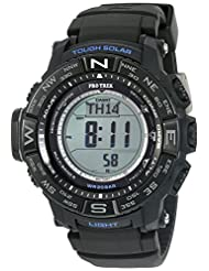 Casio Men's 'Triple Sensor' Quartz Resin and Silicone Automatic Watch, Color:Black (Model: PRW3510Y-1)