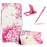 Rope Leather Case for Huawei P8 Lite 2017,Stand Wallet Flip Case for Huawei P8 Lite 2017,Herzzer Bookstyle Stylish 3D Pink Butterfly Pattern Magnetic PU Leather with Soft Silicone Inner Back Case for Huawei P8 Lite 2017