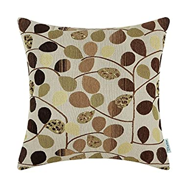 CaliTime Throw Pillow Cover 18 X 18 Inches, Luxury Chenille Cute Leaves, Reversible, Ecru Brown