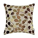 CaliTime Cushion Cover Throw Pillow Case Shell for Couch Sofa Home, Luxury Chenille Cute Leaves Both Sides, 18 X 18 Inches, Ecru Brown