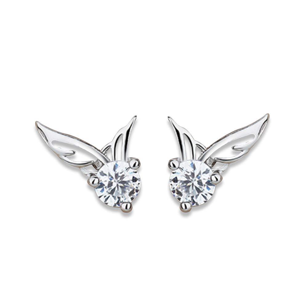 Alvade Angel Earrings, Elegant Silver-Plated Stud Earrings Girl Jewelry Diamond Jewelry Ladies For Gift