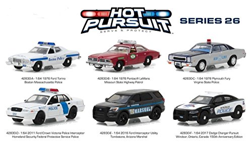 Die Cast Car Assortment - Hot Pursuit Series New 1:64 GreenLight Collection 26 ASSORTMENT Police Vehicles Set of 6pcs Diecast Model Car By Greenlight