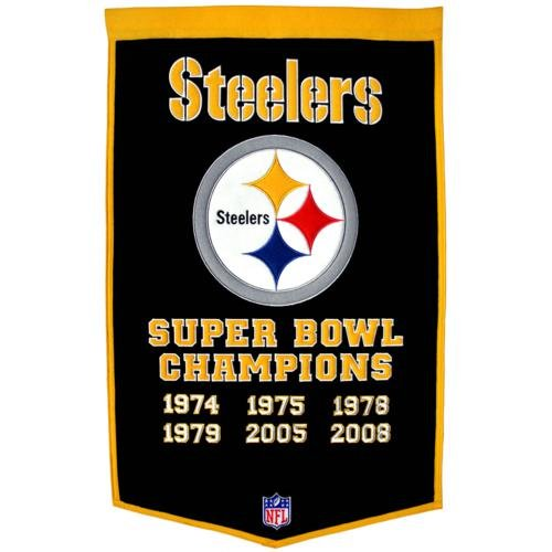 - Pittsburgh Steelers Super Bowl Championship Dynasty Banner - with hanging rod