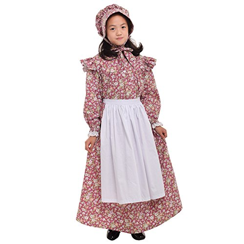 GRACEART Girls' American Pioneer Colonial Costume Prairie Dress 100% Cotton (Girls Pioneer Girl Costumes)