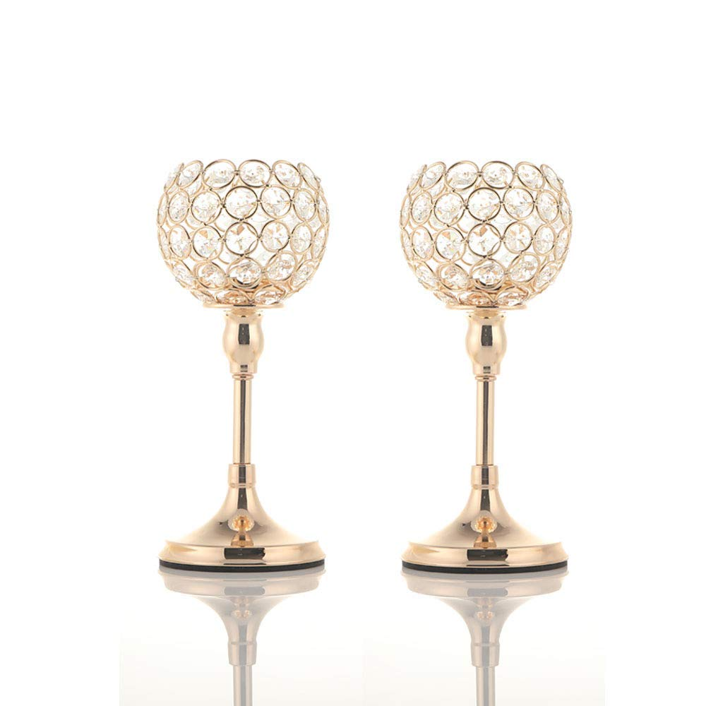 VINCIGANT Gold Crystal Pillar Candlestick Holders Set of 2 for Wedding Coffee Table Decorative Centerpieces/Anniversary Celebration House Decor Gifts, 10 Inches Tall