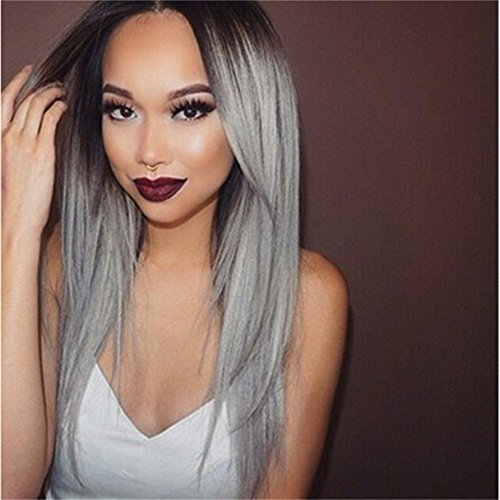 Keepyonger New Fashion Straight Brown Root to Grey Ombre Synthetic Wig High Quality Ombre Wig