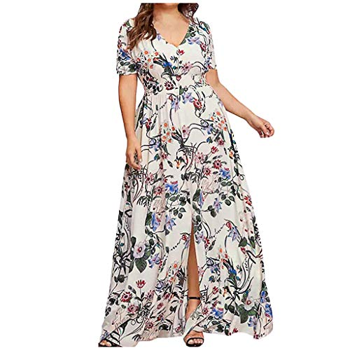 - TANGSen Fashion Women Off Shoulder O-Neck Dress Vintage Plus Size Lace Up Dress Maxi Flowing Floral Print Loose Dress